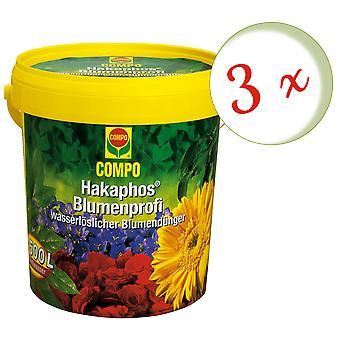 Sparset: 3 x COMPO Hakaphos Flower Professional, 1.2 kg