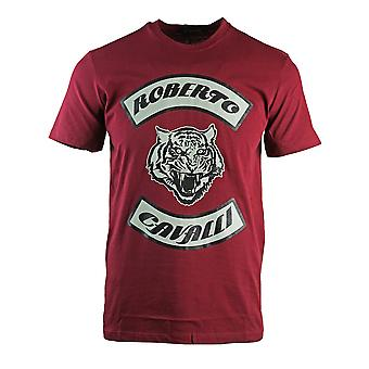 Roberto Cavalli Tiger Head Burgundy T-Shirt