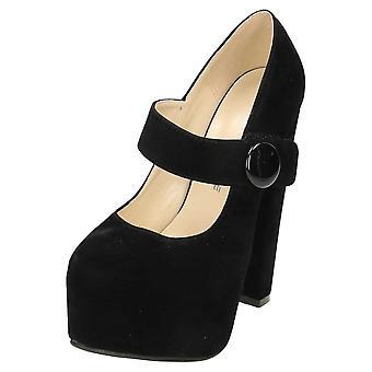 Koi Footwear Mary Jane High Heel Platform Shoes Faux Suede