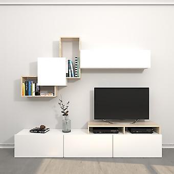 Mobile Porta TV Origami Color Bianco, Sonoma in Truciolare Melaminico 200x33x42 cm,186,2x22x91,5 cm