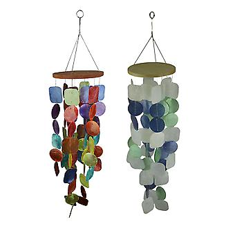 Set of 2 Capiz Shell Wind Chimes for Garden Patio Yard Coastal and Multicolor 26 Inches High