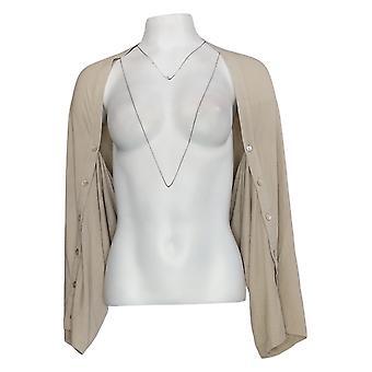 LOGOTIPO por Lori Goldstein Women's Sweater Rayon Shrug Bege A347659