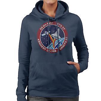 NASA STS 37 Atlantis Mission Badge Distressed Women's Hooded Sweatshirt