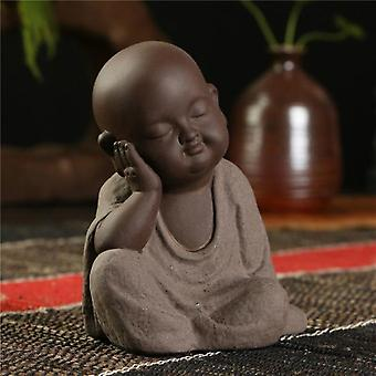 Hand-made Buddha Statue - Small Monk Sand Geomantic Home Decoration Figurines