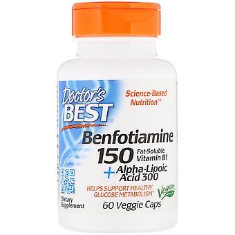 Doctor's Best, Benfotiamine 150 + حمض ألفا ليبويك 300, 60 كبسولات نباتية