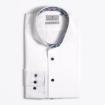 Thomas Maine  - Floral Trim Insert Shirt - White