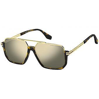 Sunglasses Men's Half Edge Reflective Havana