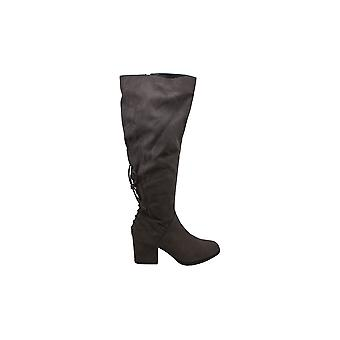 Brinley Co. Womens Knie-High Heeled Boot Grey, 9 Reguliere US