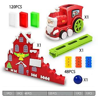 Electric Model  Train Domino Vehicle Educational Blocks Game For Children