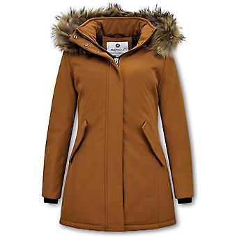 Winter coat With Real Fur Collar - Slim Fit - Brown