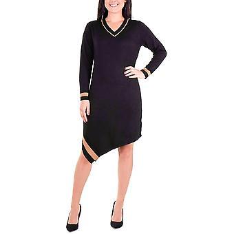 NY Collection | Asymmetric Varsity Stripe Sweater Dress