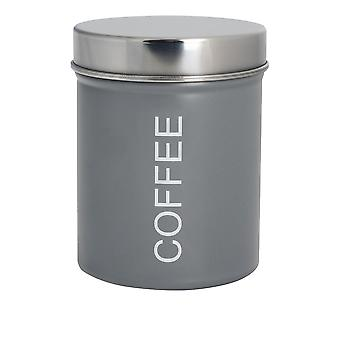 Contemporary Coffee Canister - Steel Kitchen Storage Caddy with Rubber Seal - Grey