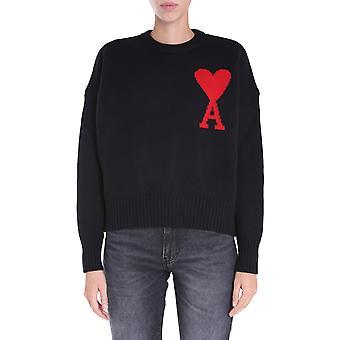 Ami H20fk009018001 Damen's Schwarze Wolle Pullover