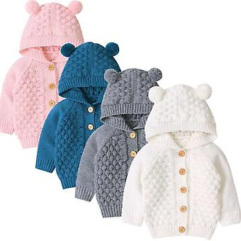 חדש 0-24m חורף תינוק תינוק חם מעיל 3D אוזניים עם קפוצ'ון שרוול ארוך לסרוג מעיל יפה outwears