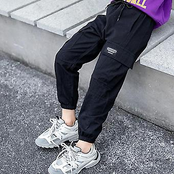 Cowgirl Cargo Pants- Spring Autumn Solid Color Kids Cotton Trousers Teenage Clothing Elastic Waist Teens Cargo Pants