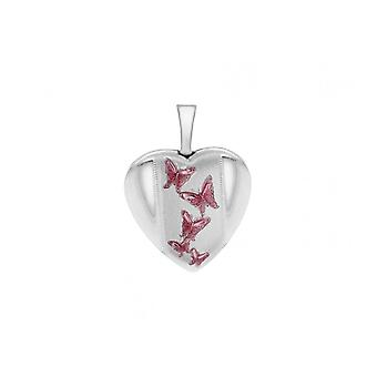 "Eternity Sterling Silver Small Heart Pink Butterfly Locket And 18"" Chain"