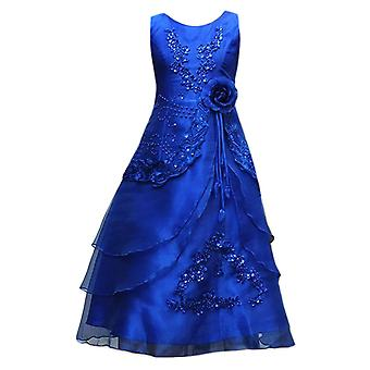 Flower Girls Formal Layered Wedding Dresses Bridesmaid Party Dress in Royal Blue