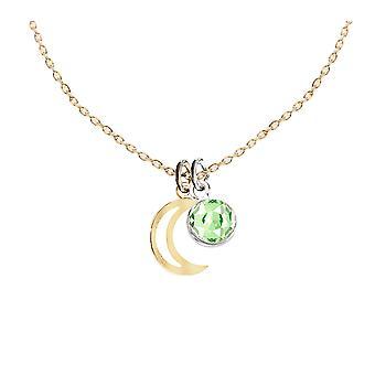 اه! المجوهرات 24K الذهب فيرميل على الجنيه الاسترليني الفضة الهلال الهلال قلادة اثنين من قلادة لهجة مع 6mm Peridot Dangle