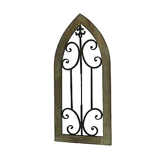 Wood and Metal Scroll Architectural Window Wall Hanging