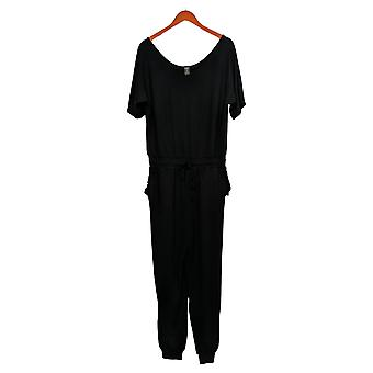 WVVY Jumpsuits French Terry Short Sleeve One-Piece Black 698-612