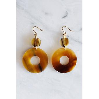 Buffalo Horn Donut Shape Dangle Earrings