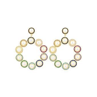 Multicoloured Rainbow Gatsby Pearl CZ Gemstone Yellow Gold Dangle Drop Earrings
