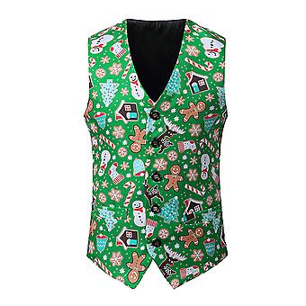 YANGFAN Mens Χριστούγεννα ψηφιακή εκτύπωση κοστούμι γιλέκο V-λαιμό γιλέκο