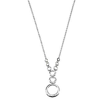 Elements Sterling Silver N2816 Ladies Hammered/High Polish Finish Disc Y Chain Collier