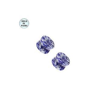 Lapis lazuli semi-edelstein blå flekk ørepropper - 8 gauge til 00g