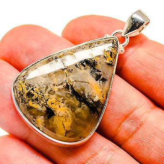 "Plume Agate 925 Sterling Silver Pendant 2""  - Handmade Boho Vintage Jewelry PD741743"