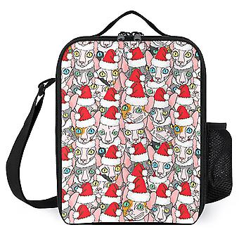 Christmas Sphynx Naked Cat Printed Lunch Bags