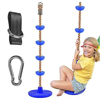 Climbing Rope Tree Swing With Platforms And Disc Swings Seat, Outdoor Backyard Playground Swingset Accessories With 6.5ft Tree Swing Strap And Snap Ho