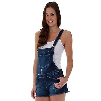 Ladies denim dungaree shorts - dark wash