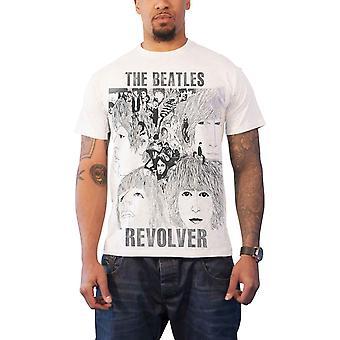 O revólver de camisa de T de Beatles banda logotipo novo oficial Mens Slim fit sub tintura