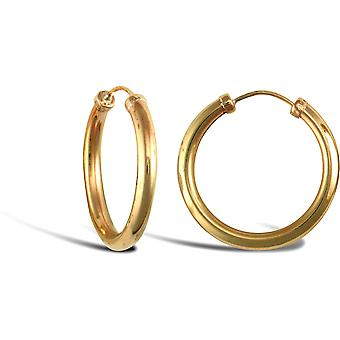 Jewelco Londen dames 9ct Yellow Gold afgetopte Sleeper 2.5 mm hoepel oorbellen 20mm