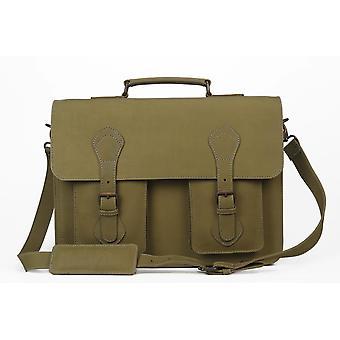 The reagan olive leather messenger bag