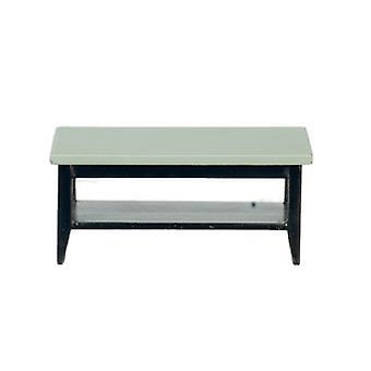 Dolls House Grey & Black Retro Coffee Table With Shelf Living Room Furniture