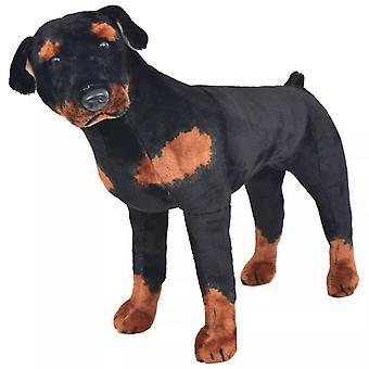 vidaXL Plush Toy Standing Rottweiler Black and Brown XXL
