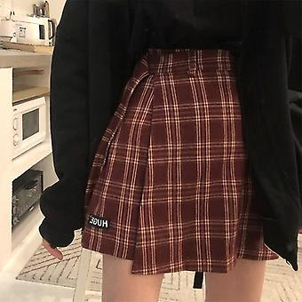 Casual Basic Fashion Alle Match Plaid Vintage Röcke