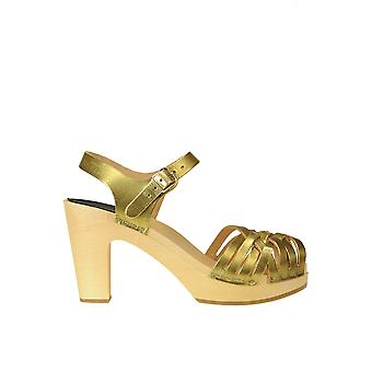 Swedish Hasbeens Ezgl631001 Women's Gold Leather Sandals