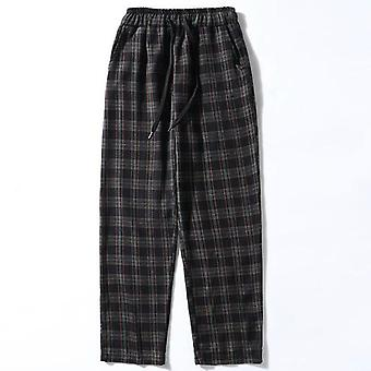 Men Plaid Loose Wide Leg Trousers Mens Simple Chic Korean Style Streetwear