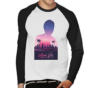 Miami Vice Sunset City Silhouette Men's Baseball Long Sleeved T-Shirt