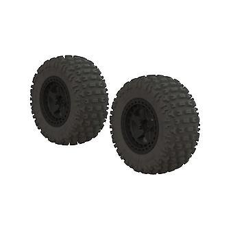 Arrma AR550042 Fortress SC Tire Set Glued Black (2)