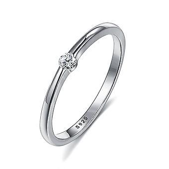 Sterling Zilveren Ringen, Cute Zircon, Ronde Geometrische Ring, Fijne Sieraden