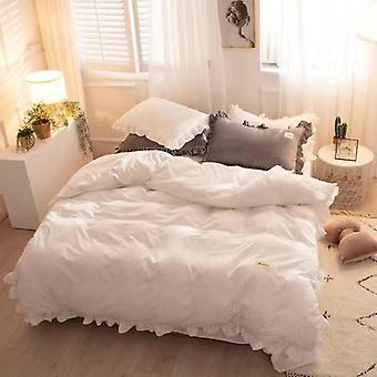Princess Ruffle Pink White Duvet Cover Winter Warm Flannel Double-sided Plus