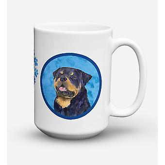 Caroline's Treasures SS4800-BU-CM15 Rottweiler Microwavable Ceramic Coffee Mug, 15 oz, Multicolor