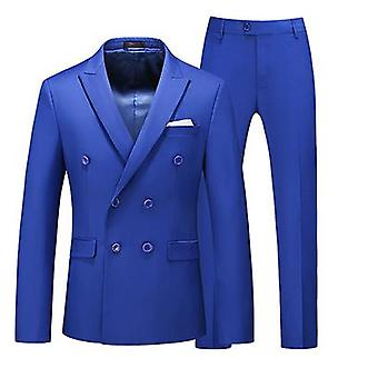 Mens 2 Piece Suit Slim Fit Double Breasted Blazer And Pants Solid Color Prom Smoking