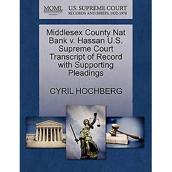 Middlesex County Nat Bank V. Hassan U.S. Supreme Court Transcript of