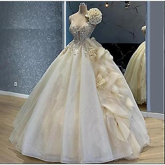 Gorgeous Light Champagne Celebrity Dresses Crystals Spaghetti Evening Princess