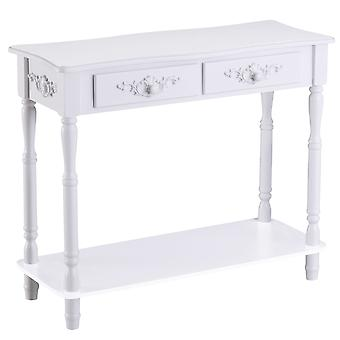 HOMCOM Console Table Modern Sofa Side Desk with Storage Shelves Drawers for Living Room Entryway Bedroom White